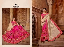 Indian Women Beige And Pink Color Lycra And Silk Saree