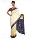 Off White, Blue Festive Wear Off White And Blue Ikat Silk Saree