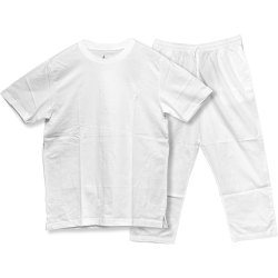 Mens Polyester Casual Wear White Lower And T Shirt Night Wear, Size: 32-44