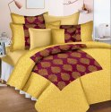 Patola Gold Printed Bed Sheet