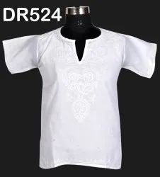 White Cotton Hand Embroidered Chikan Women's Short Top DR524