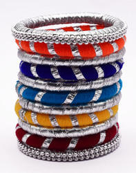 Silk Thread Bangle set in multicolor with gota wrapped