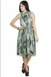 Printed Flared Dress Abstract Print Chiffon Long Dress