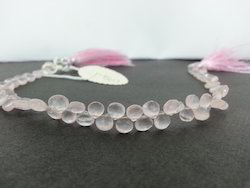 Natural Rose Quartz Faceted Heart Briolette Beads