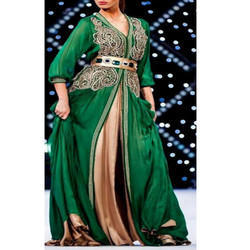 V-Neck Full Sleeves Ladies Green Maroccan Kaftan
