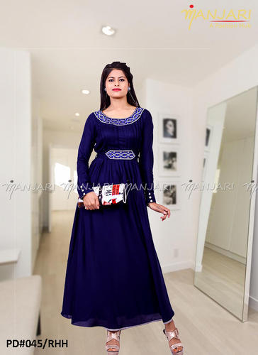 982a21af297e Full Sleeves Navy Blue Long Frock