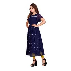 Ladies Party Wear Georgette Dress, Size: M to XXL