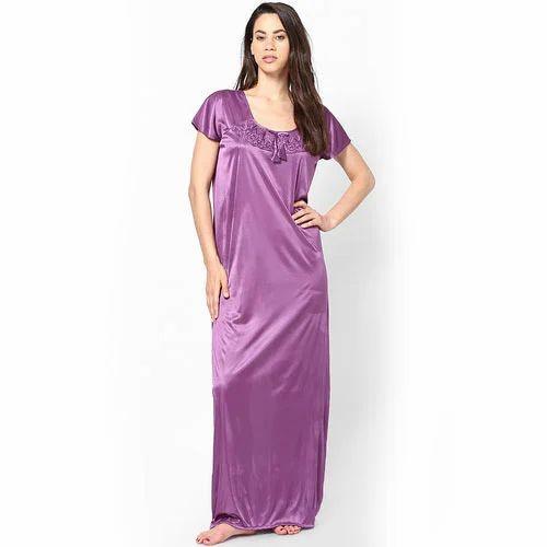 f4d6e85367b6e Purple Ladies Plain Satin Nightgown, Rs 50 /piece Aarohi Textiles ...