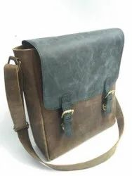 Flap Closure Leather Messenger Bag