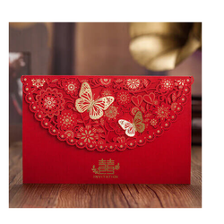 Red Silverton Wedding Card Base Paper