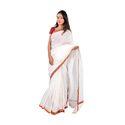 White Silk Cotton Kantha Saree