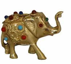 Brass Elephant Stone Work