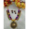 Multi Color Beads Ganesha Pendant Necklace