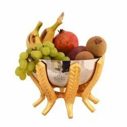 Brass Stand with Stainless Steel Hammered Nickel Plating Fruit Bowl Bowl Size: Height-12.5 cm