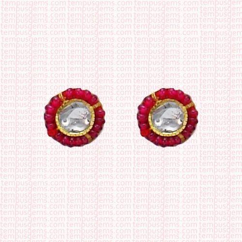ace20592c Tempus Gems Ruby Beads Polki Diamond Stud Earring, Size: Length & Width :  12mm
