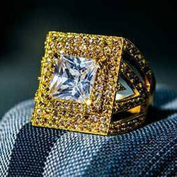 American Diamond Stone Mens Fashion Ring