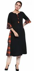 Black Digital Print Crepe Stitched Kurti