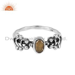 Citrine Gemstone Designer 925 Sterling Silver Oxidized Ring