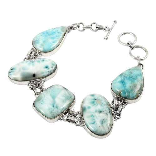 Pearl India International Secret Created 925 Sterling Silver Larimar Bracelet