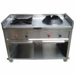 Silver Stainless Steel Two Burner Stove