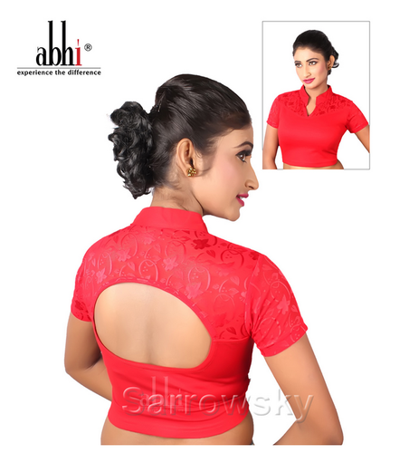 690d153724f Half Sleeves Blouse - High Neck Golden Stretchable Blouse With Zip DN2311  Wholesaler from Kolkata