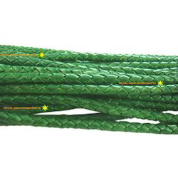 Antique Green Braided Leather Cord