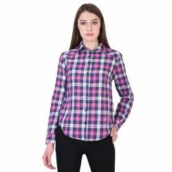 Ladies Check Cotton Casual Shirt, Size: S, M & L