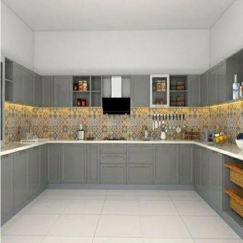 Plywood U Shape Open Grey Modular Kitchen, Rs 1198 /square ...