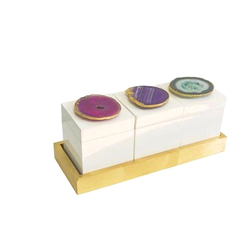 Agate Box with Wooden Tray
