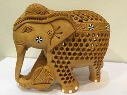 Elephant Shaped Wooden Carving