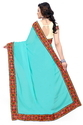 Sky Blue  And Beige Color Designer Half And Half Georgette Saree