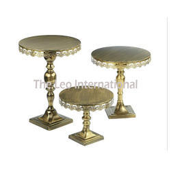 Mette golden finish metal cake stand set of 3