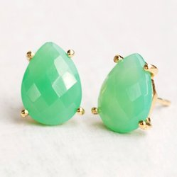 Natural Chrysoprase Chalcedony 12x16mm Hot Gold Plated Simple Party Wear Earstud