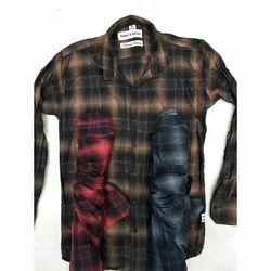 Casual Wear Collar Neck Cotton Check Shirt