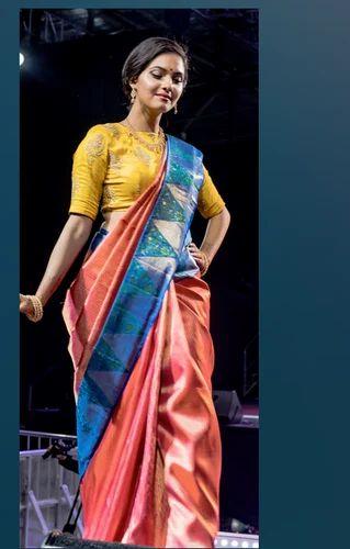 Red And Blue Bridal Kanchipuram Pure Silk Saree