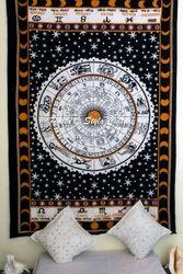 Zodiac Black Astrology Indian Mandala Wall Hanging