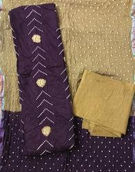 Fancy Unstitched Bandhani Dress Material