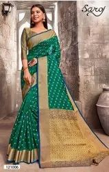 Beautiful Green Rapier Silk Saree