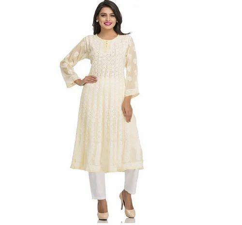 A106705 Women S Lucknow Chikan Georgette Anarkali Kurti