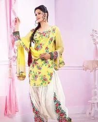 Casual Wear Multicolor Ladies Punjabi Suit
