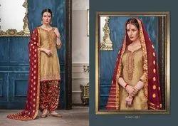 Shangar By Patiala Vol 14-Kessi Jam Silk Cotton With Work Designer Patiyala Suits