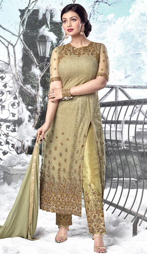 2719a44689 Party Wear Semi-Stitched Olive Green Color Net Embroidered Straight Salwar  Kameez