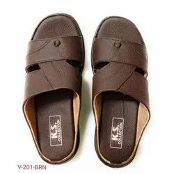 Mens Brown Casual Men Leather Slippers