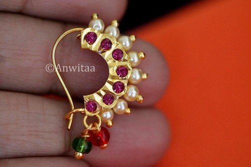 Traditional Golden Bannu Maharashtrian Moti Saj Nath Nose Pin