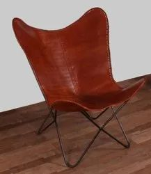 Brown Iron & Leather Butterfly Chair