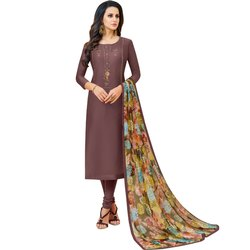 Rajnandini Dark Mauve Chanderi Silk Embroidered Semi-Stitched Dress Material With Printed Dupatta