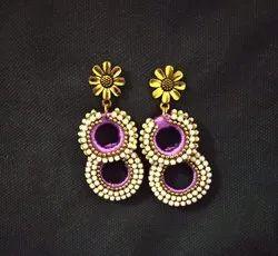 Rectangle Silk Thread Handmade Designer Ear Rings, Size: 2 Inches
