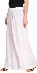 Regular Fit Women''s Chikan Embroidery Palazzo Pants For Women