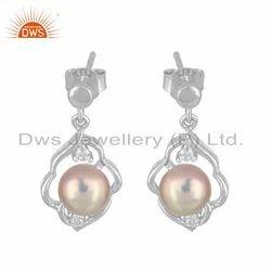 DWS Anniversary Gray Pearl Gemstone Designer White Rhodium Plated Silver Earrings, Shape: Round Drop