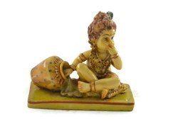 Handmade Hand Painted Baby Krishna Resin Figurine Sculpture